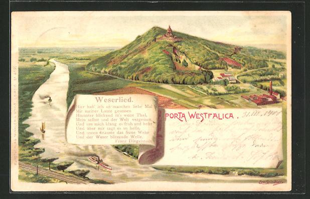 Künstler-AK Erwin Spindler: Porta Westfalica, Ortspanorama, Weserlied 0