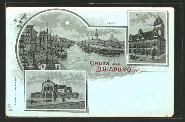 Mondschein-Lithographie Duisburg, Bahnhof, Hafen, Post 0