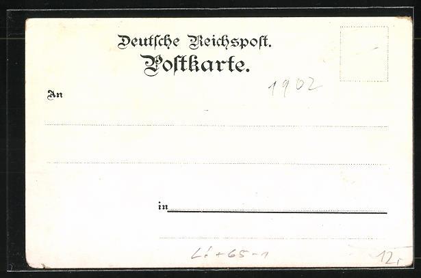 Mondschein-Lithographie Duisburg, Bahnhof, Hafen, Post 1