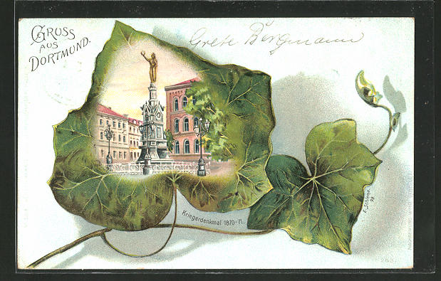 Passepartout-Lithographie Dortmund, Kriegerdenkmal 1870-71 0