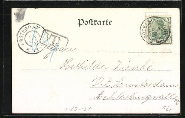 Passepartout-Lithographie Dortmund, Kriegerdenkmal 1870-71 1