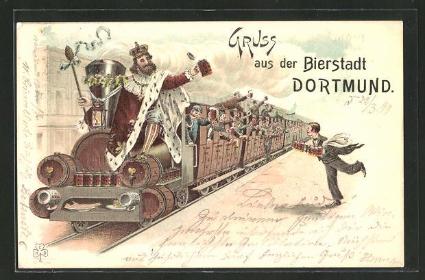 Lithographie Dortmund, Biertrinker fahren Eisenbahn 0