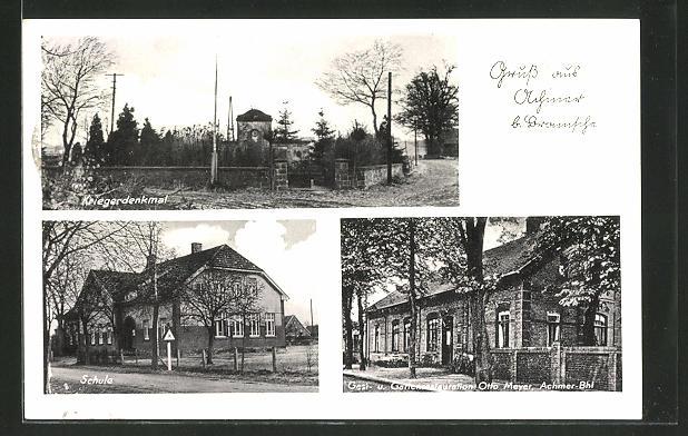 AK Achmer, Kriegerdenkmal, Schule, Gasthaus Otto Meyer 0