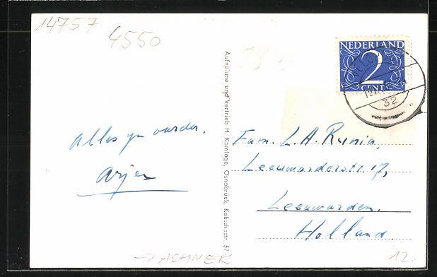 AK Achmer, Kriegerdenkmal, Schule, Gasthaus Otto Meyer 1
