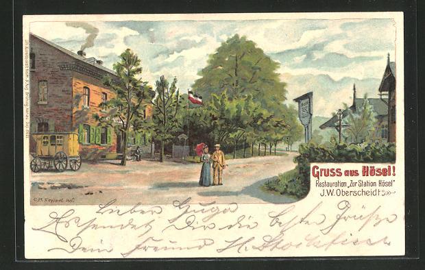 Lithographie Hösel, Gasthaus Zur Station Hösel 0
