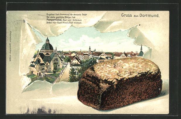 Passepartout-Lithographie Dortmund, Ortsansicht, Pumpernickel-Brot 0