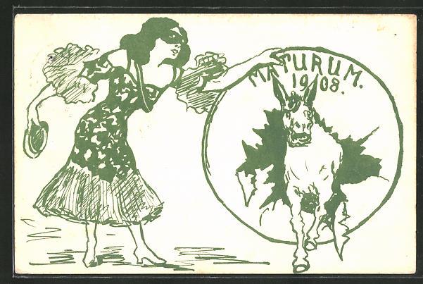 AK Essen, Absolvia, Maturum 1908, junge Frau mit Maske 0