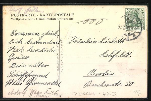 AK Essen, Absolvia, Maturum 1908, junge Frau mit Maske 1