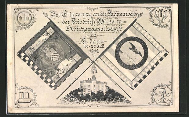 AK Altena, zur Erinnerung an die Fahnenweihe der Friedrich Wilhelm-Schützengesellschaft 1912 0