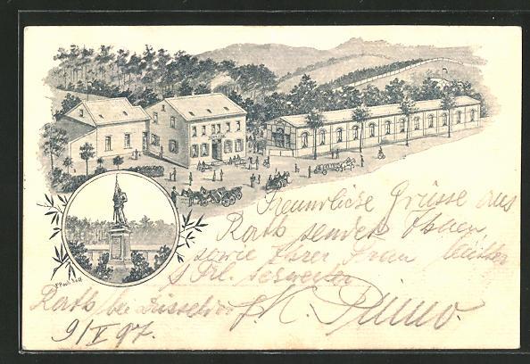 Lithographie Rath, Gasthaus Fink, Denkmal 0
