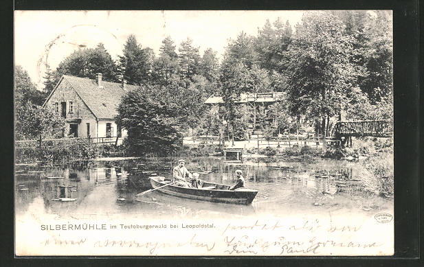 AK Leopoldstal, Gasthaus Silbermühle mit Gondelteich 0