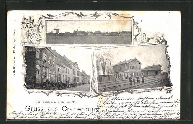 AK Cranenburg, Bahnhof, Hotel zur Post, Ortsansicht mit Mühle 0