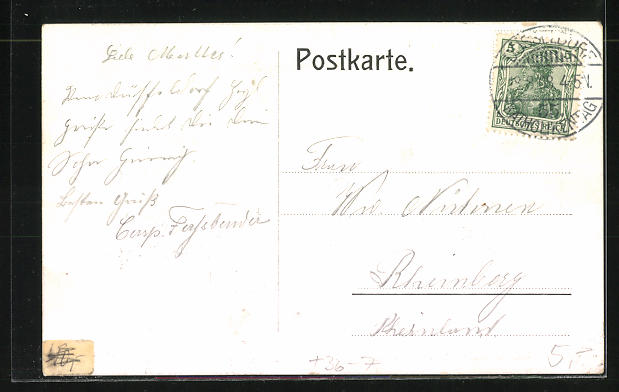 AK Düsseldorf, Katholikentag 1908, Festhalle mit Strassenbahn 1