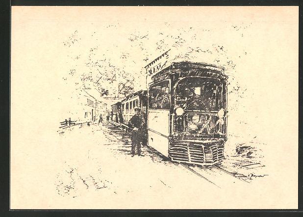 Künstler-AK Uerdingen, Dampfstrassenbahnzug, Baujahr 1883 0