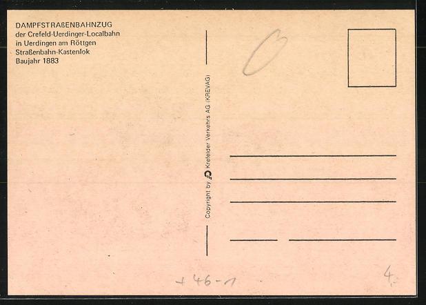 Künstler-AK Uerdingen, Dampfstrassenbahnzug, Baujahr 1883 1