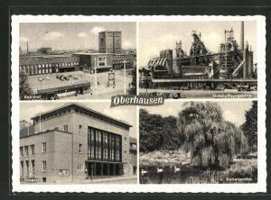 AK Oberhausen, Gutehoffnungshütte, Kaisergarten, Bahnhof, Theater