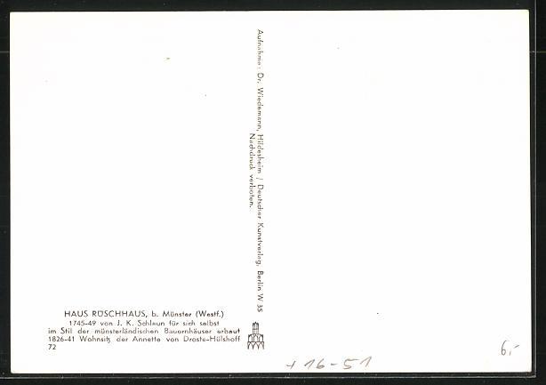 Foto-AK Deutscher Kunstverlag, Nr.72: Münster, Partie am Haus Rüschhaus, Deutscher Kunstverlag, Berlin 1