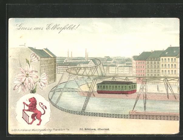 Lithographie Elberfeld, Schwebebahn mit Flusspartie 0
