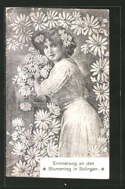 AK Solingen, Erinnerung an den Blumentag, Blumenmädchen 0