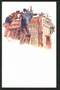 Lithographie Essen, Krupp Lokomotiv- und Wagenbau