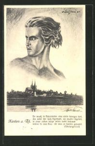 Künstler-AK Xanten / Rhein, Ortsansicht mit Siegfried-Bildnis