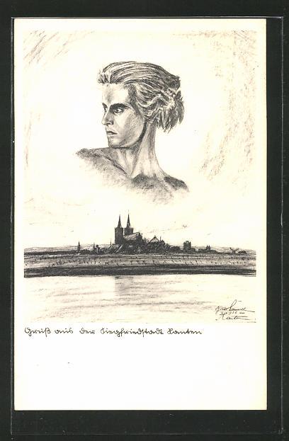 Künstler-AK Xanten / Rhein, Ortsansicht mit Siegfried-Bildnis 0