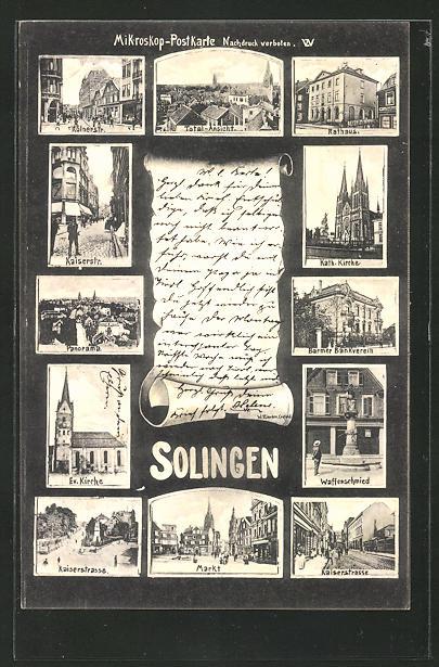 AK Solingen, Kölnerstrasse, Rathaus, Kaiserstrasse, Waffenschmied 0