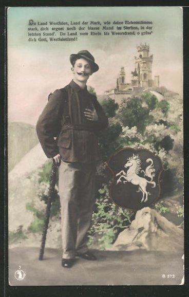 AK Wanderer mit Schlossblick und Wappen 0