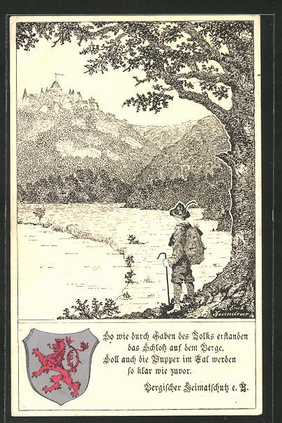 AK Burg / Wupper, Wanderer mit Blick zur Burg 0