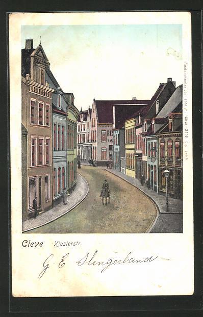 Goldfenster-AK Cleve, Blick in die Klosterstrasse 0