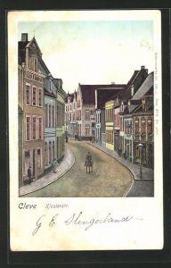 Goldfenster-AK Cleve, Blick in die Klosterstrasse