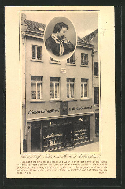 AK Düsseldorf, Heinrich Heine's Geburtshaus mit Bäckerei & Conditorei Wilh. Weidenhaupt 0