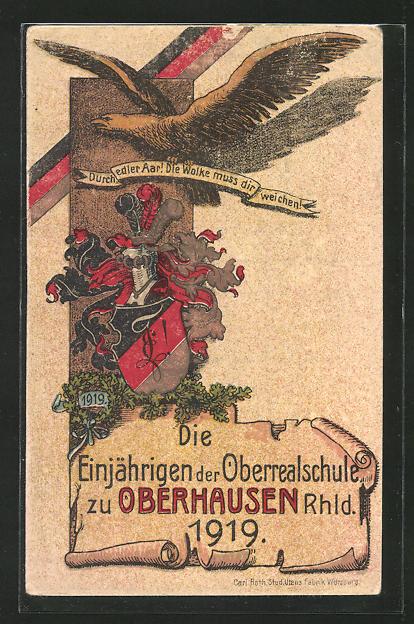 AK Oberhausen, Die Einjährigen der Oberschule 1919, Durch edler Aar! Die Wolke muss dir weichen!, Absolvia 0