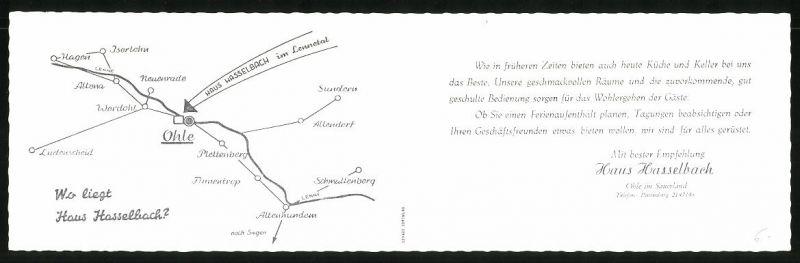 Klapp-AK Ohle / Sauerland, Gasthaus Hasselbach, verschiedene Ansichten 1