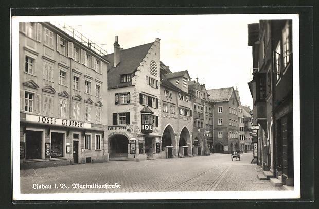 AK Lindau i. B., Maximilanstrasse mit Geschäften 0