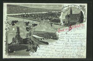 Mondschein-Lithographie Bingen / Rhein, Nationaldenkmal, Drususbrücke, Rochuskapelle