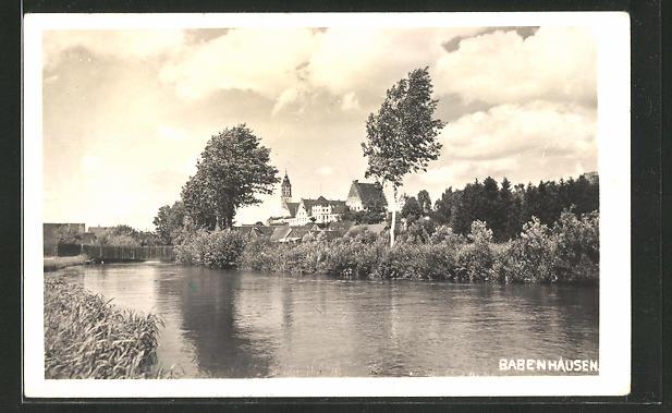 AK Babenhausen, Ortspartie vom Wasser aus gesehen
