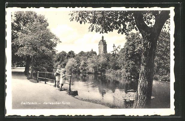 AK Delitzsch, Blick zum Halleschen Turm
