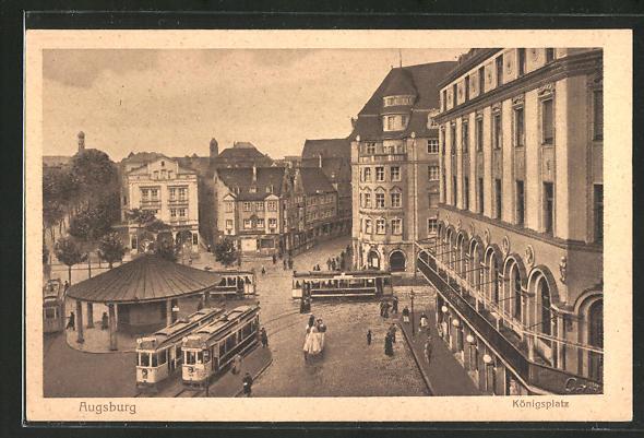 AK Augsburg, Strassenbahn am Königsplatz