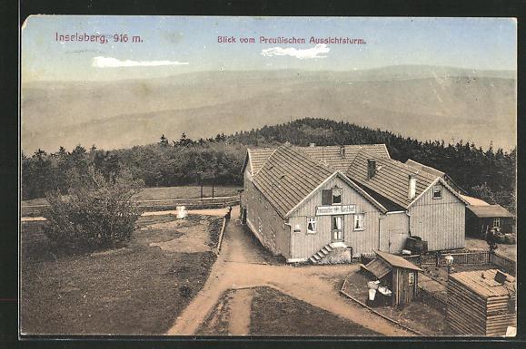 AK Inselsberg, Preussischer Gasthof, Blick vom Preussischen Aussichtsturm