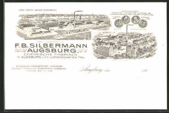 Künstler-AK Augsburg, Chemische Fabriken F. B. Silbermann