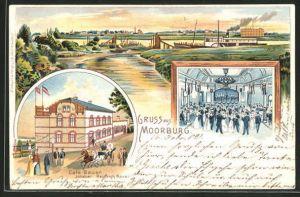 Lithographie Hamburg-Moorburg, Panorama mit Dampfer und Café Bauer mit Innenansicht