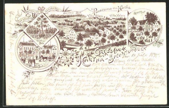 Vorläufer-Lithographie Hartha-Spechtshausen, 1895, Panorama mit Gasthof Bad, Villa Clara und Villa Helene