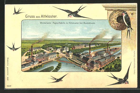 Passepartout-Lithographie Altkloster, Blick zur Winter'schen Papierfabrik, Schwalben