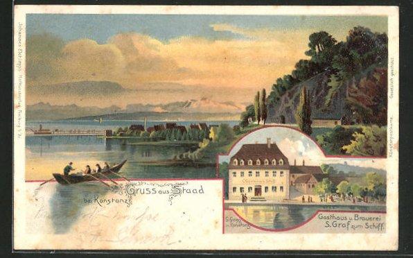 Lithographie Staad, Gasthof und Brauerei S. Graf zum Schiff