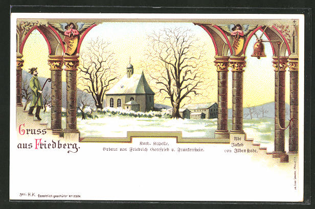 Winter-Lithographie Friedberg, Kath. Kapelle am Abt Jakob von Ilben Stadt