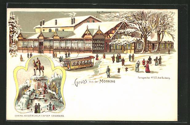 Winter-Lithographie Duisburg-Speldorf, Gasthaus Monning und Denkmal Kaiser Wilhelm I. auf dem Kaiserberg