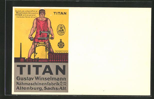 AK Altenburg, Reklame für Nähmaschine Titan, Gustav Winselmann, Nähmaschinenfabrik G.m.b.H.