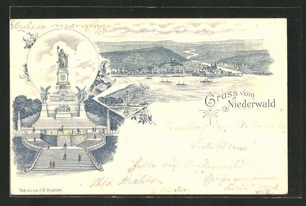 Lithographie Niederwald-Denkmal, Partie am Denkmal und Flusspanorama