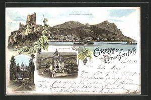Lithographie Königswinter, Gasthaus Drachenfels, Drachenburg